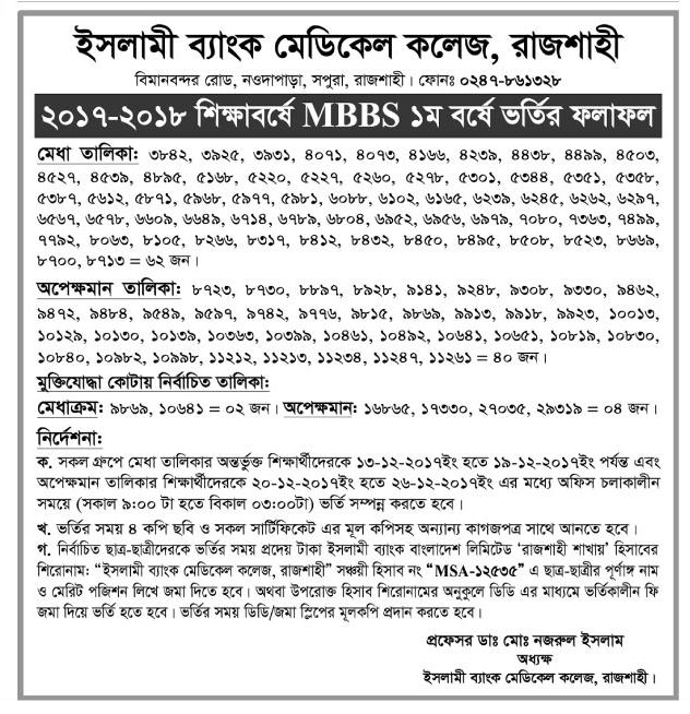 MBBS Admission Result 2017-2018 - Islami Bank Medical College, Rajshahi